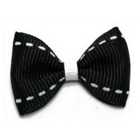 White Dashes Top Knot Bow — Black