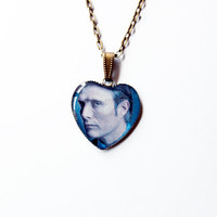 "Hannibal Lecter (Mads Mikkelsen) from Television Series ""Hannibal"" - Handmade  Heart Cameo Pendant Necklace"