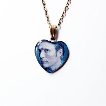 """Hannibal Lecter (Mads Mikkelsen) from Television Series """"Hannibal"""" - Handmade  Heart Cameo Pendant Necklace"""
