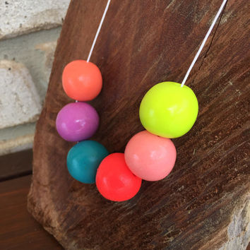 Big pink and neon yellow bead necklace - polymer clay, statement piece
