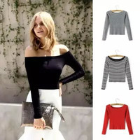 Off-Shoulder Stretchable Long-Sleeve Shirt