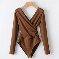 Anah Criss Cross Bodysuit / Brown