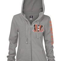 Cincinnati Bengals Womens Gray Brushed Fleece Long Sleeve Full Zip Jacket
