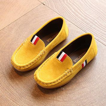 Toddler Children's Casual Flat Shoes 2017 Fashion New Girls Moccasins Kids Boy Non-slip Loafers PU Leather Doug Shoes