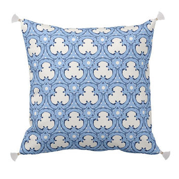 Trellis Pillow, Navy and light blue, Print on Linen and Cotton Fabric