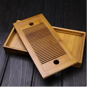 Small Bamboo Kongfu Tea Table Serving Tray Chinese Wooden Tea Tray 27x13.7cm Tea Set Water Storage Traditional Teaware Home Gift
