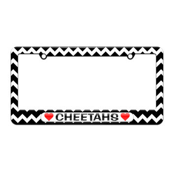 Cheetahs Love with Hearts - License Plate Tag Frame - Black Chevrons Design