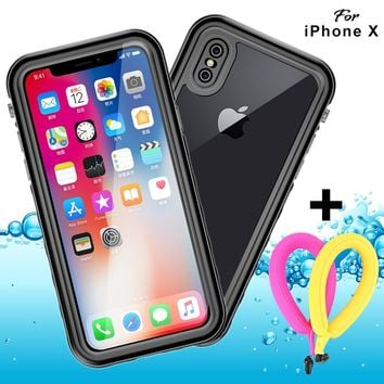 Waterproof case iPhone X clear with Neck Lanyard Support Wireless Charging IP68 GUYO Shockproof Full-body Sealed Rugged Transparent Cover with Built-in Screen Protector and Float Strap(White)