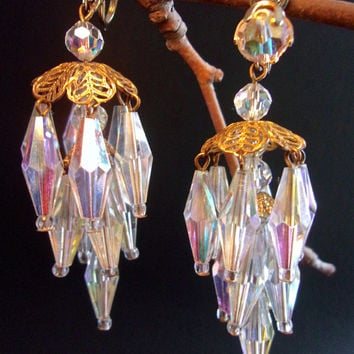Chandelier Aurora Borealis Crystal Earrings, Filigree, Clip On, Vintage