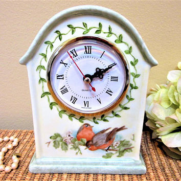 Clock Mantel Quartz Porcelain Birds Hand Painted Birds Robins Ceramic blm