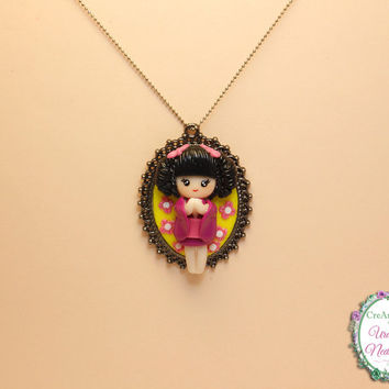 Japanese Doll Kimono Doll Geisha Necklace in Cameo, Handmade Unique Polymer Clay Fimo Necklace in Gun Black Pierced Cabochon Base Setting