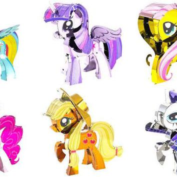 Metal Earth Model Kits My Little Pony MLP Set of 6 - Apple Jack, Fluttershy, Pinkie Pie, Rainbow Dash, Rarity, Twilight Sparkle