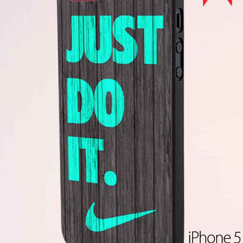 Nike Just Do It Wood Colored Darkwood Wooden iPhone 5 Case