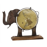 Benzara Gorgeous Metal Wood Elephant Globe Bronze