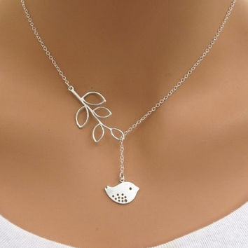 Fashion Elegant Silver Chain Bird/Pearl Leaf Pendant Necklace Friend Gifts = 1945764740