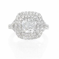 .88ct Diamond 18k White Gold Double Halo Engagement Ring Setting