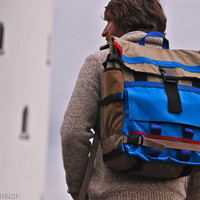 XL backpack equipped with skateboard straps in bright by TichBags