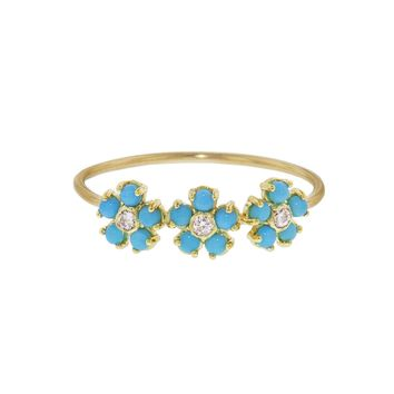 Turquoise and Diamond Flower Trio Ring