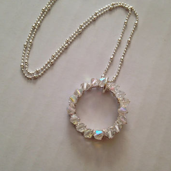 Eternity Necklace, Swarovski Crystals, Sterling Silver