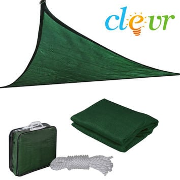 New Premium Clevr Sun Shade Canopy Sail 16.5 Triangle UV Top Outdoor Patio Green