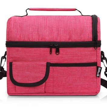 PuTwo Lunch Bag Insulated Large Capacity with YKK Zip Adjustable Shoulder Strap Lunch Bag - Rosy