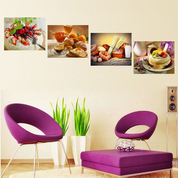 Oil Painting Canvas Print Still Life Sweet Cake Fruit Flower Home Decor Picture Wall Art Poster for Living Room Decoration 4pcs