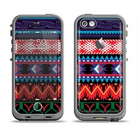 The Vector White-Blue-Red Aztec Pattern Apple iPhone 5c LifeProof Fre Case Skin Set