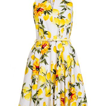 Quiz white And Lemon Skater Dress - House of Fraser