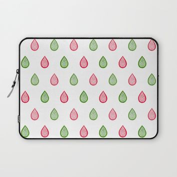 Pink and green raindrops Laptop Sleeve by Savousepate