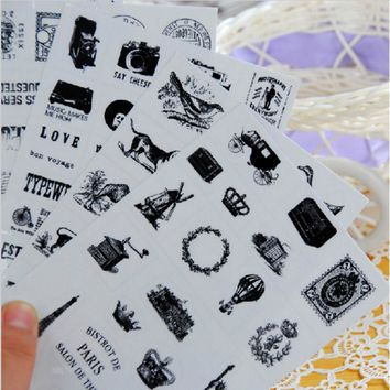 6 sheets/bag  DIY  Vintage Retro Classic Sticky Paper Crown Eiffel Tower Sticker for Scrapbooking Diary Free shipping 905