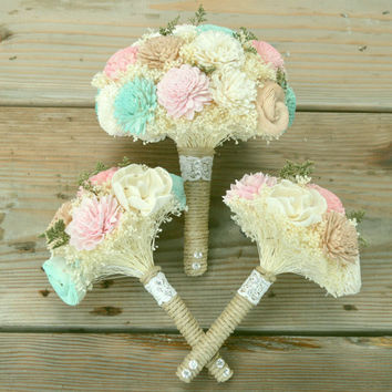Budget Wedding Bouquet Set Custom Colors Made to order Bridal Bridesmaid Bouquet Sola Flowers