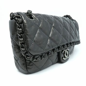CHANEL Quilted Calfskin Leather SHW Chain Shoulder Bag Grey