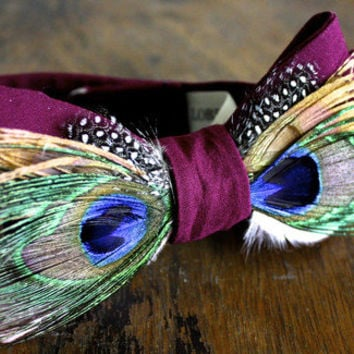Purple Peacock Feather Bow Tie Handmade by Lord Wallington