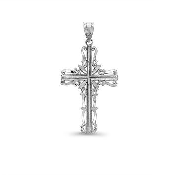 14k solid gold cross pendant. filigree cross pendant. religious jewelry.