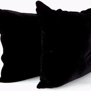 "Throw Silk  Velvet Pillow 18"" by 18"" ,  Black  with Black Trimming, Modern Decor"