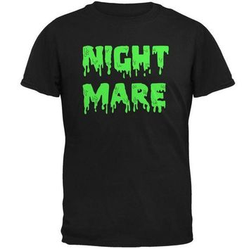 PEAPGQ9 Halloween Nightmare Horror Slime Dripping Text Mens T Shirt