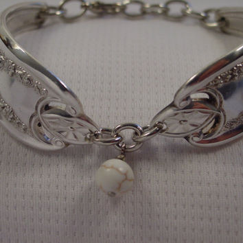 Gorgeous Spoon Bracelet Old Colony Pattern With Whitish Bead Antique Spoon and Fork Jewelry b64