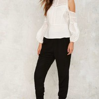 Dressed to the Lines Cold Shoulder Top