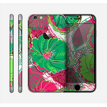 The Vibrant Green & Coral Floral Sketched Skin for the Apple iPhone 6