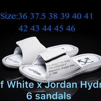 Off White x Jordan Hydro 6 sandals Wolf Gray 881473 Size 36-46-1