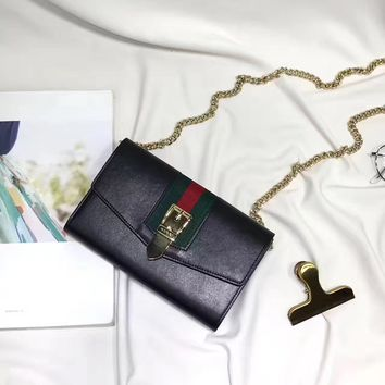 GUCCI WOMEN'S NEW STYLE LEATHER CHAIN SHOULDER BAG