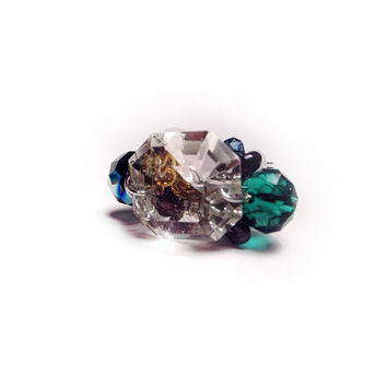 Chandelier Crystal Ring with Purple & Green Faceted Glass Crystals