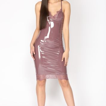 Latex With A Side Of Lace Dress - Dark Mauve