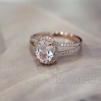 14K Rose Gold Ring Halo .38ct Diamond and 7*9mm Fancy Natural Morganite Ring   Engagement Ring Gemstone Ring Wedding Ring