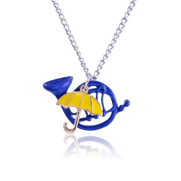 QIYIGE Yellow Umbrella Blue Horn Pendant Alice in Wonderland Necklace Gold Color For Men Women Jewelry Gifts