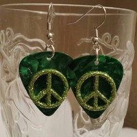 Guitar Pick Earrings by Betsy's Jewelry - Peace Signs - Hippie - Retro Styles
