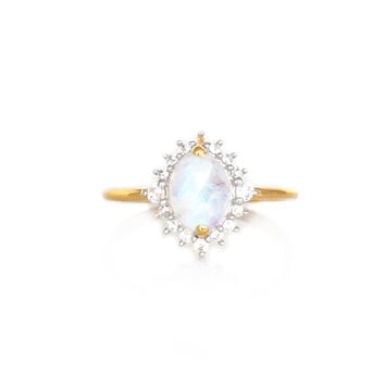 Rainbow Moonstone and Diamond Flowerburst Ring