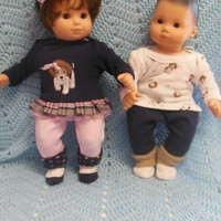 "American Girl Bitty TWINS clothes Bitty Baby clothes ""Beagle Buddies"" (15 inch) Boy and Girl Twins Set doll outfit dogs puppies"