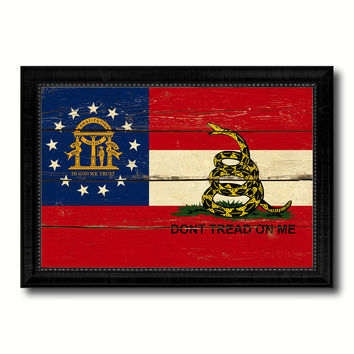 Gadsden Don't Tread On Me Georgia State Military Flag Vintage Canvas Print with Black Picture Frame Home Decor Wall Art Decoration Gift Ideas