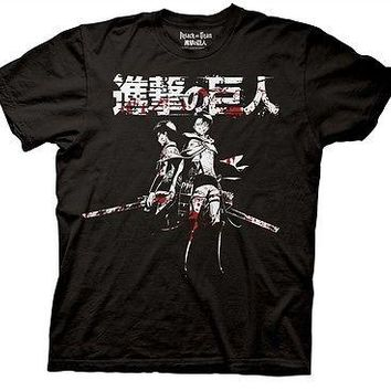 Attack on Titan Levi and Eren Blood Anime Manga Cartoon Cotton Adult T Shirt